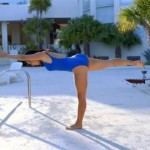 Doing a yoga warrior pose in the water hyperextends your hip, helping tired muscles recover